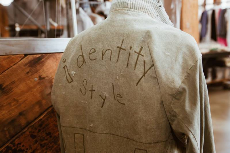 Jacket with emboidery on the back