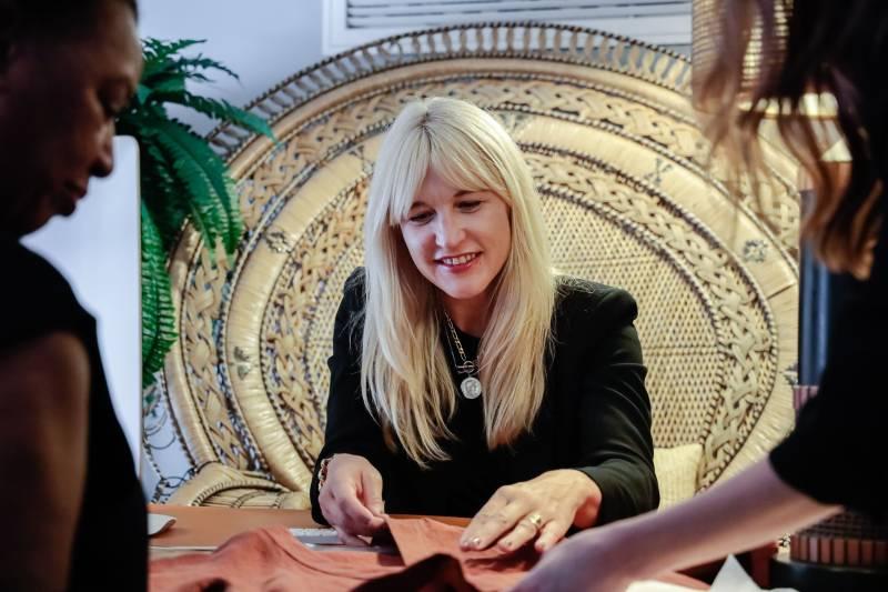 Jennifer finalizing pattern designs for clients
