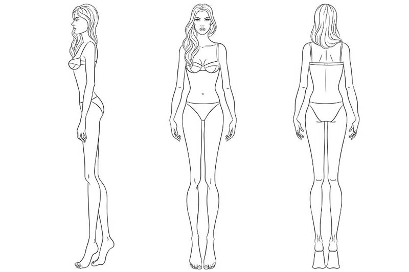 Fashion croquis of a woman