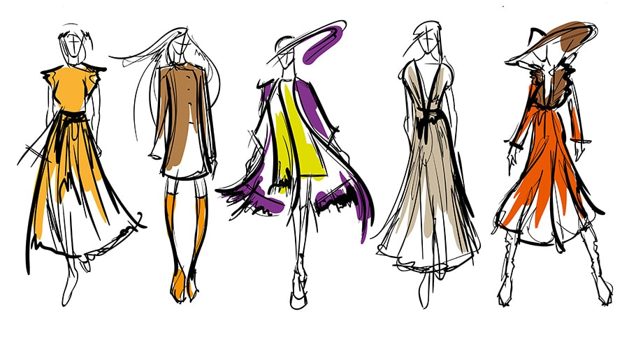 design a dress: Sketch of different dress styles