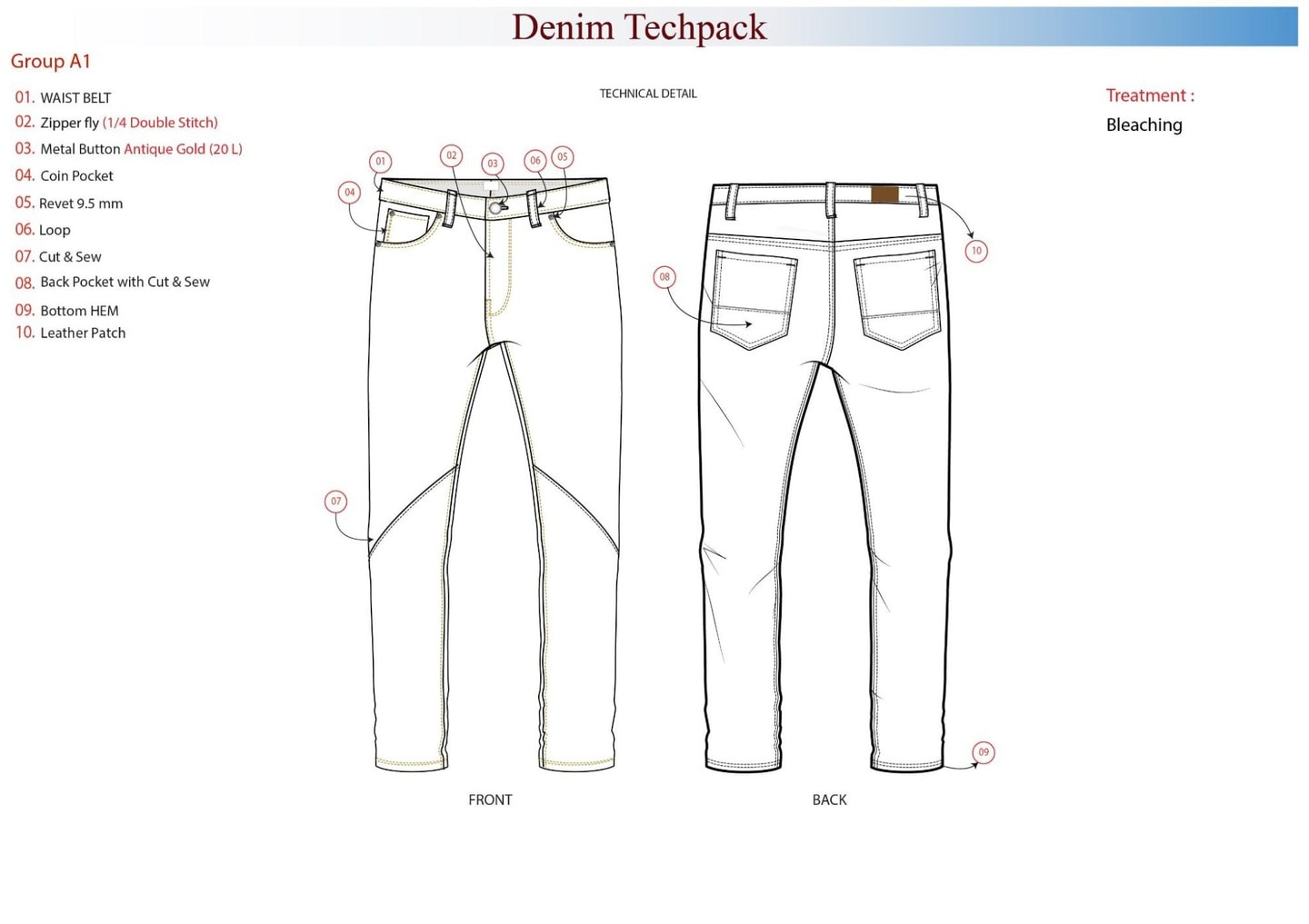 fashion production: Diagram of a denim techpack