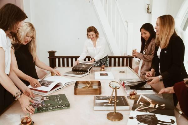 fashion mood board: women in a meeting