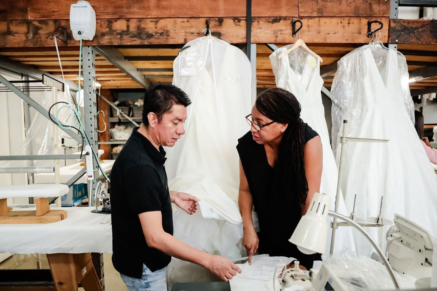 Two small batch clothing manufacturers discussing measurements and specifications