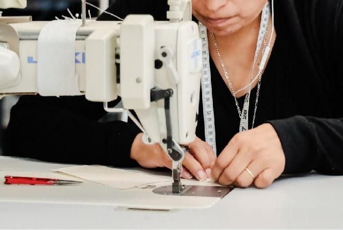 Closeup of a seamstress sewing