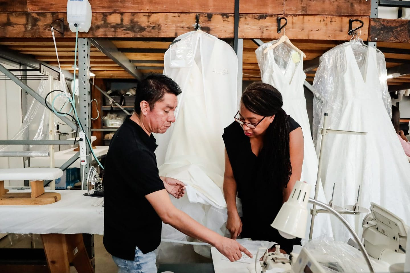 Los Angeles clothing manufacturer showing fashion designer how to start a clothing business in a production studio