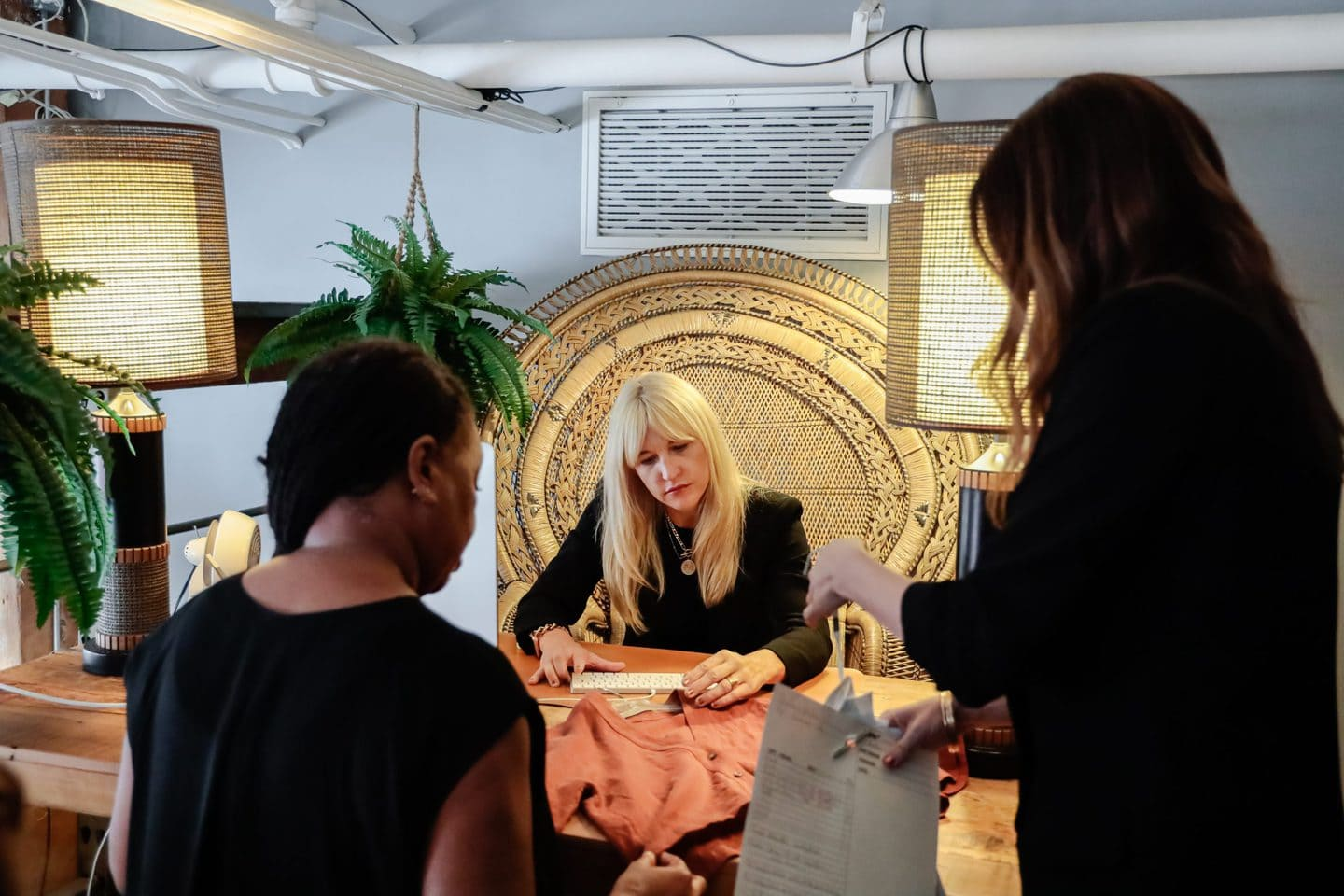 Jennifer Evans working with designers to show how to design clothes